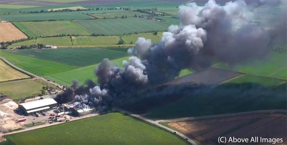Fire at Corkers Crisps factory in Pymoor, near Ely, Cambridgeshire. Still from video: Above All Images.