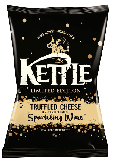 Truffle cheese flavour crisps with a splash of sparkling wine