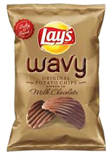 Milk chocolate coated crisps