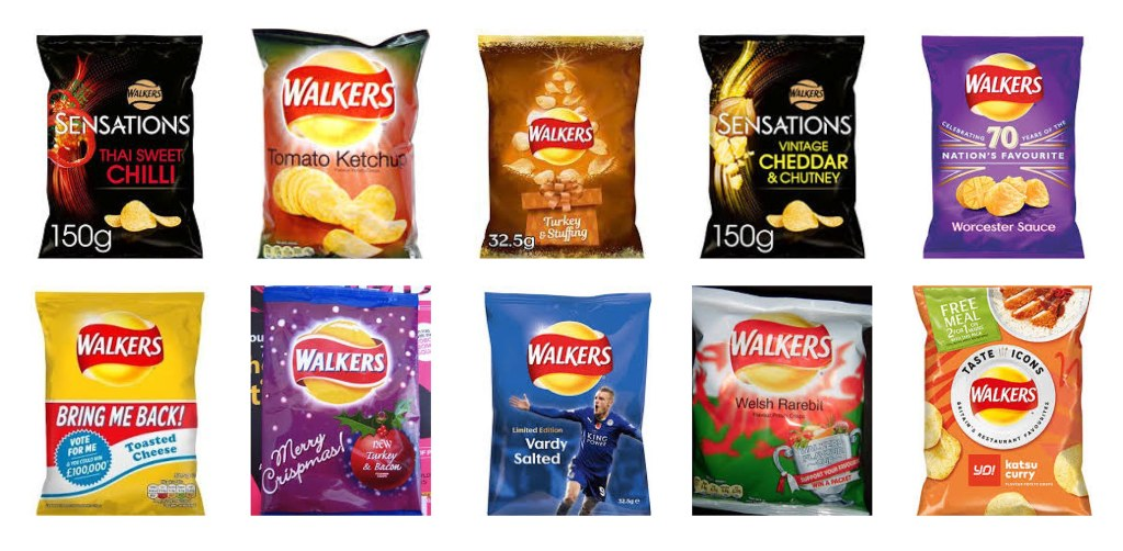 Some of Walkers' crisp flavours