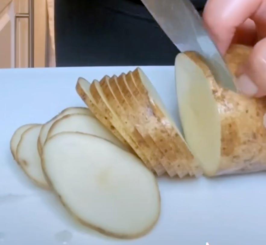 Photo of sliced potato